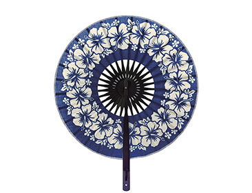 Round shaped fabric paper hand held fan